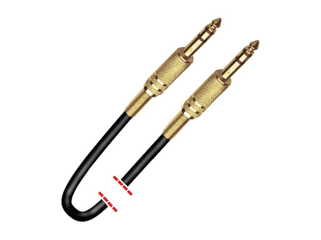 """Cable de señal con conectores Jack 1/4"""" estéreo macho - Jack 1/4"""" estéreo macho."""