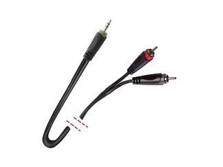 Cable de señal. 1 Mini Jack estéreo macho - 2 RCA macho. 1m